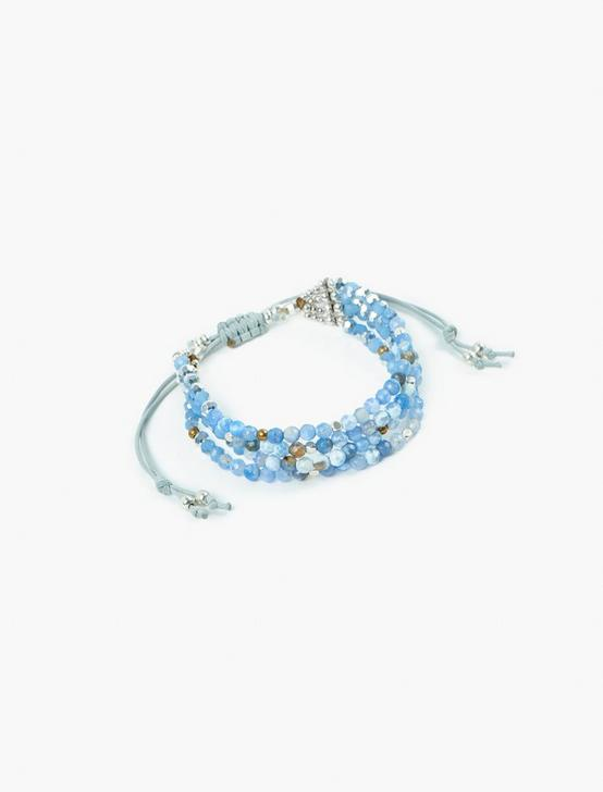 BLUE BEADED LAYER BRACELET, TWO TONE, productTileDesktop
