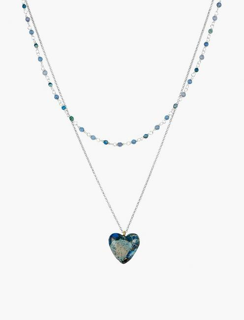 LAYER HEART PENDANT NECKLACE, SILVER
