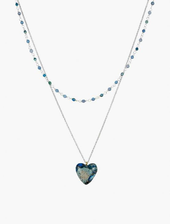 LAYER HEART PENDANT NECKLACE, SILVER, productTileDesktop