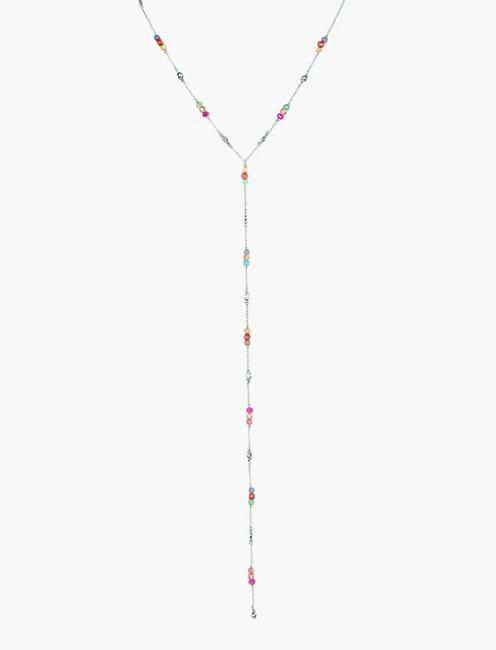 BEADED LARIAT NECKLACE, SILVER