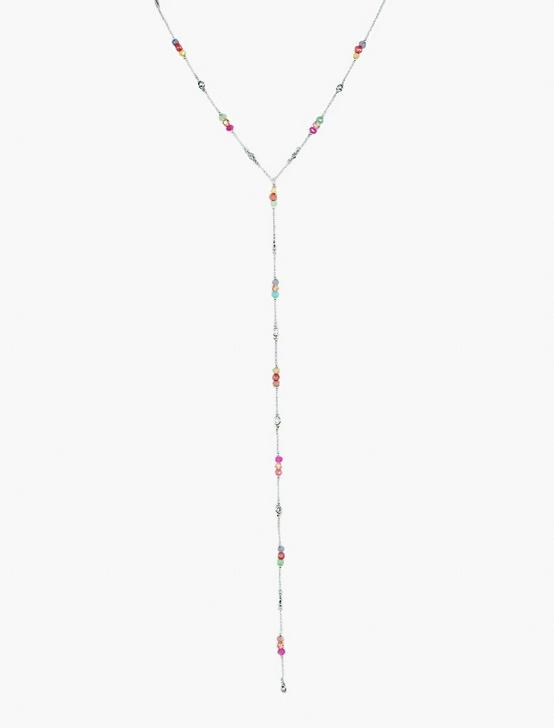 BEADED LARIAT NECKLACE, SILVER, productTileDesktop