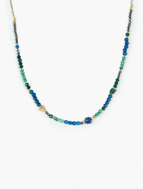 BEADED COLLAR NECKLACE, TWO TONE, productTileDesktop