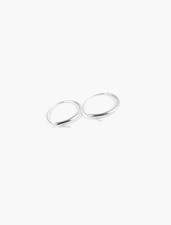 THREADED HOOP EARRINGS, SILVER, productTileDesktop