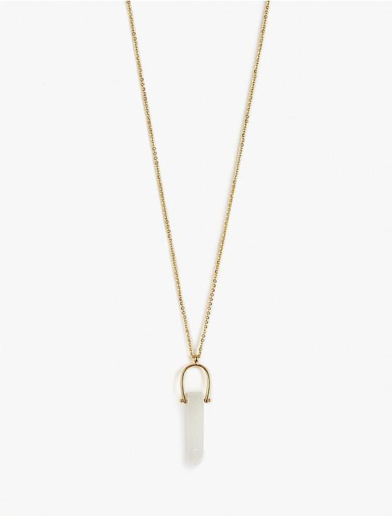 CRYSTAL PENDANT NECKLACE, GOLD, productTileDesktop