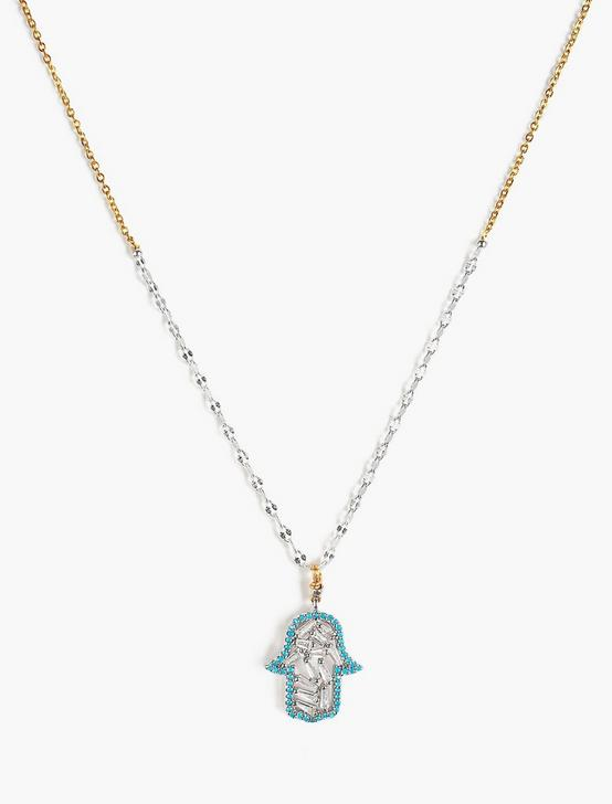 HAMSA NECKLACE, TWO TONE, productTileDesktop