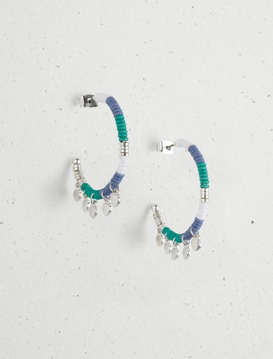 BEADED CHARM HOOP EARRINGS, SILVER, productTileDesktop