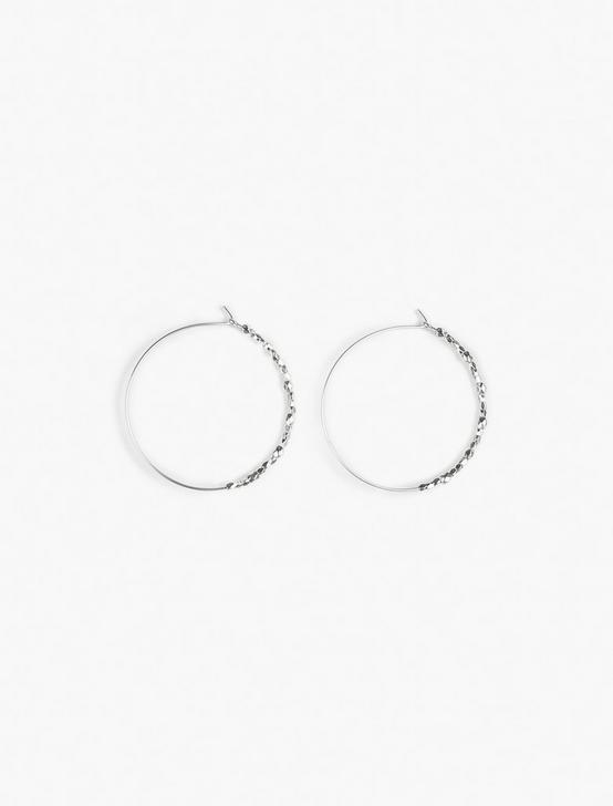 SILVER BEADED HOOP EARRINGS, SILVER, productTileDesktop