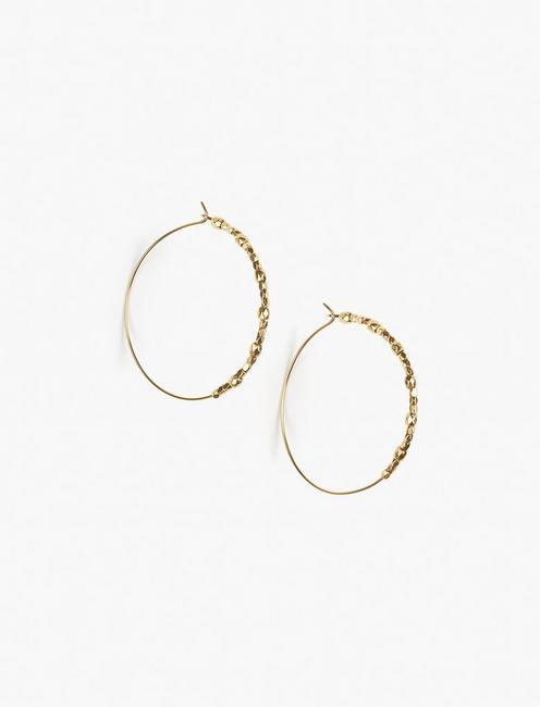 GOLD BEADED HOOP EARRINGS,