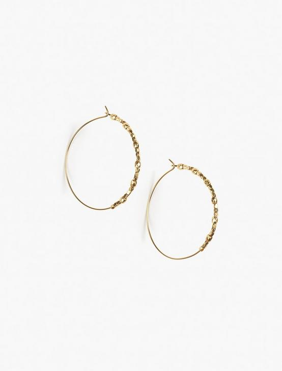 GOLD BEADED HOOP EARRINGS, GOLD, productTileDesktop