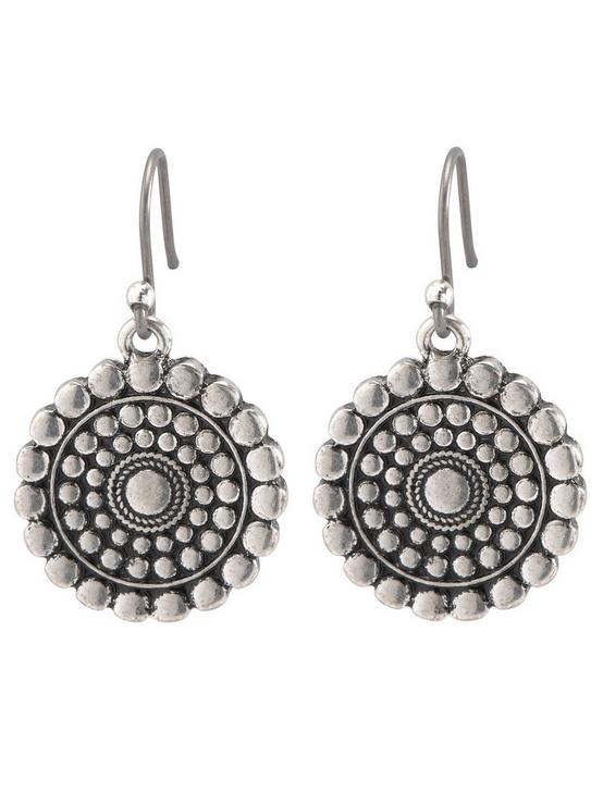 TRIBAL DROP EARRING, SILVER, productTileDesktop