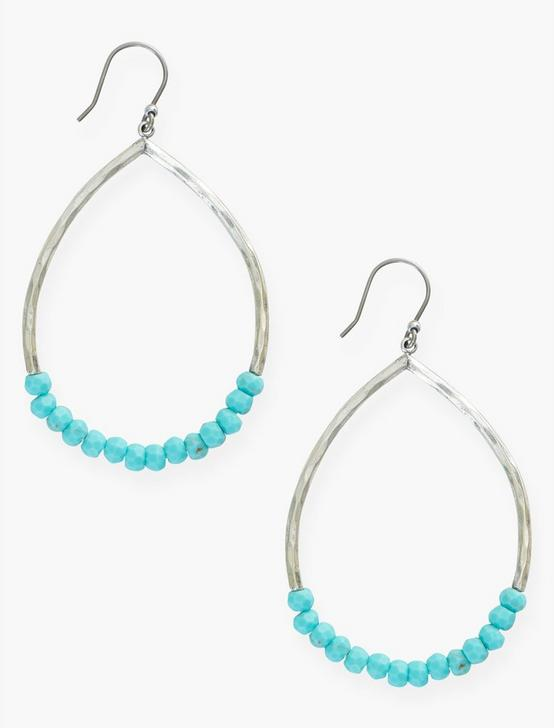 TURQUOISE BEADED HOOP EARRINGS, SILVER, productTileDesktop