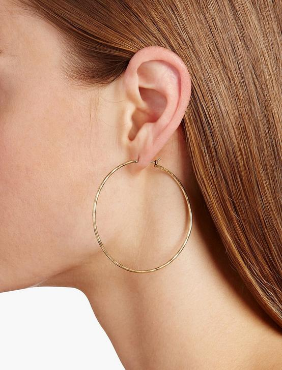 BIG HAMMERED HOOP, GOLD, productTileDesktop