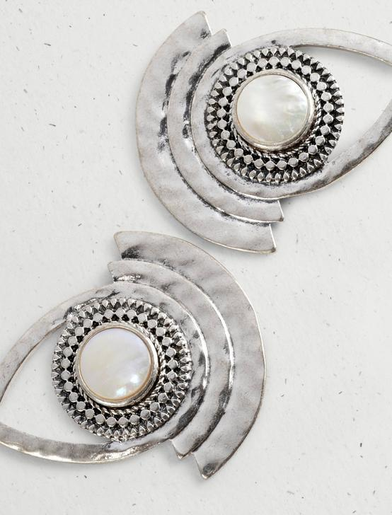 PEARL STATEMENT DROP EARRING, SILVER, productTileDesktop