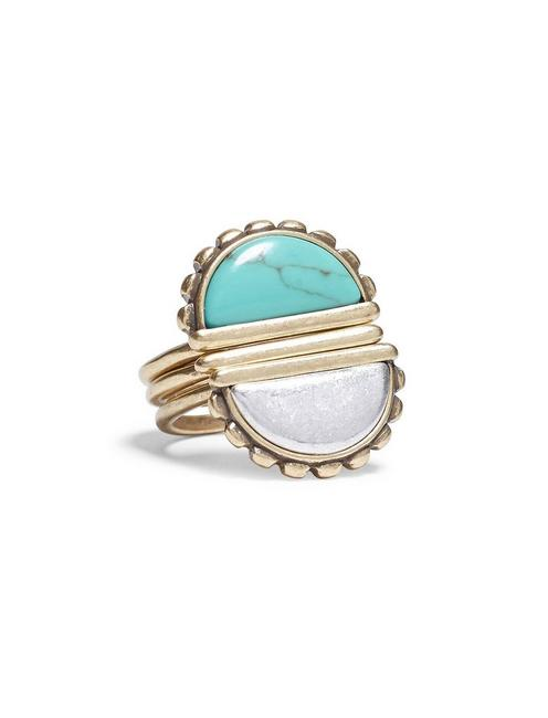 TURQUOISE STACK RING, TWO TONE