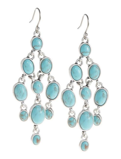 TURQUOISE CHANDELIER, SILVER