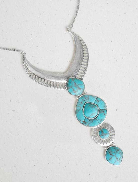 STATEMENT DROP NECKLACE, SILVER, productTileDesktop
