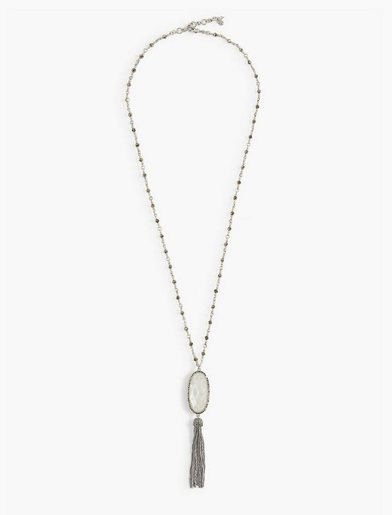 REVERSIBLE TASSEL NECKLACE, SILVER, productTileDesktop