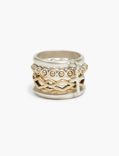 CROSS STACKED RINGS, TWO TONE
