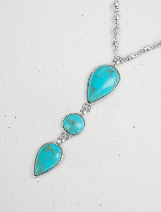 TURQUOISE STACK PENDANT NECKLACE, SILVER, productTileDesktop