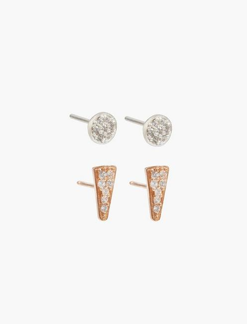 d1bcd8d2 Rose Gold Triangle Stud Set