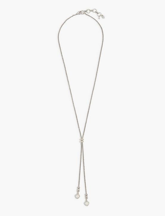 SILVER PEARL LARIAT NECKLACE, SILVER, productTileDesktop