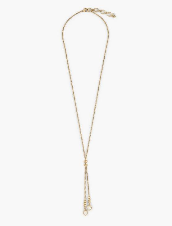 PEARL LARIAT NECKLACE, GOLD, productTileDesktop