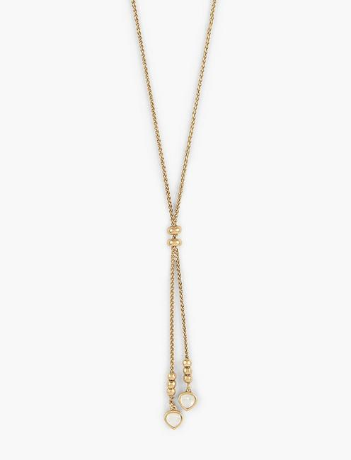 PEARL LARIAT NECKLACE, GOLD