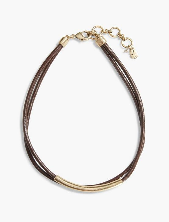 BROWN LEATHER CHOKER, GOLD, productTileDesktop