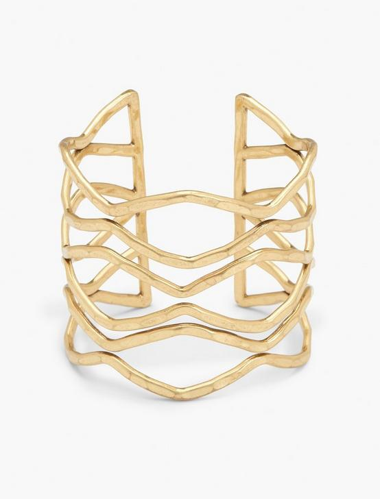 HAMMERED WIRE CUFF, GOLD, productTileDesktop