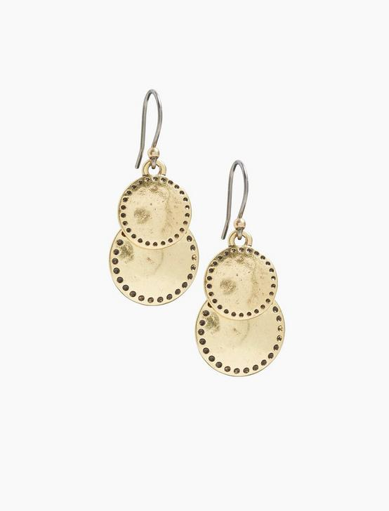 DOUBLE DROP EARRINGS, GOLD, productTileDesktop