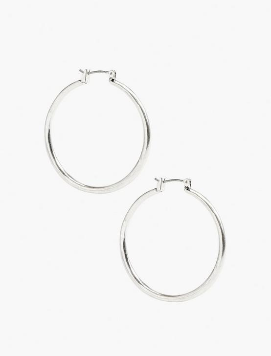 BASIC HOOP EARRINGS, SILVER, productTileDesktop