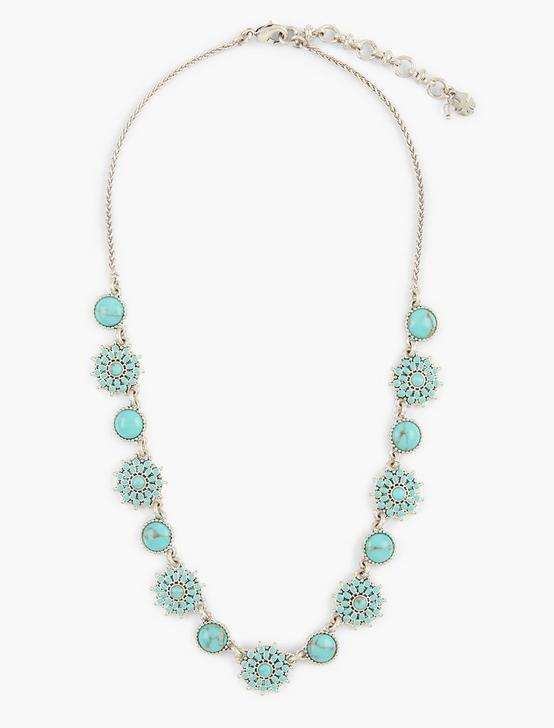 TURQUOISE COLLAR NECKLACE, SILVER, productTileDesktop