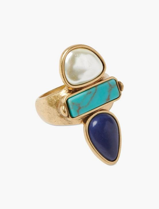 TURQUOISE PEARL RING, GOLD, productTileDesktop