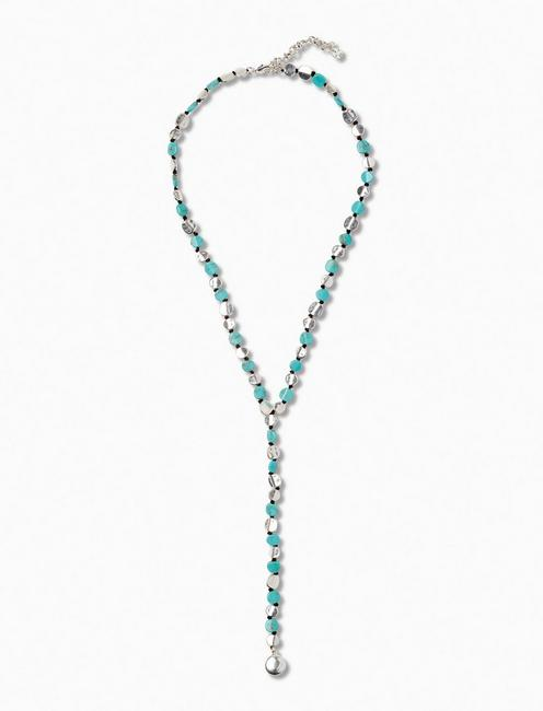 TURQUOISE COIN Y NECKLACE, SILVER