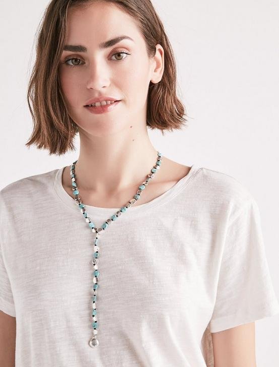 TURQUOISE COIN Y NECKLACE, SILVER, productTileDesktop
