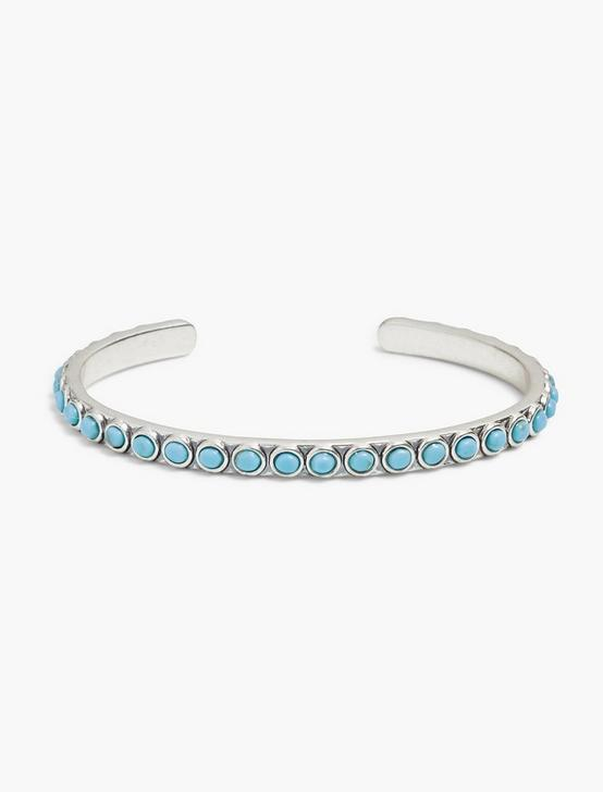 TURQUOISE THIN CUFF, SILVER, productTileDesktop