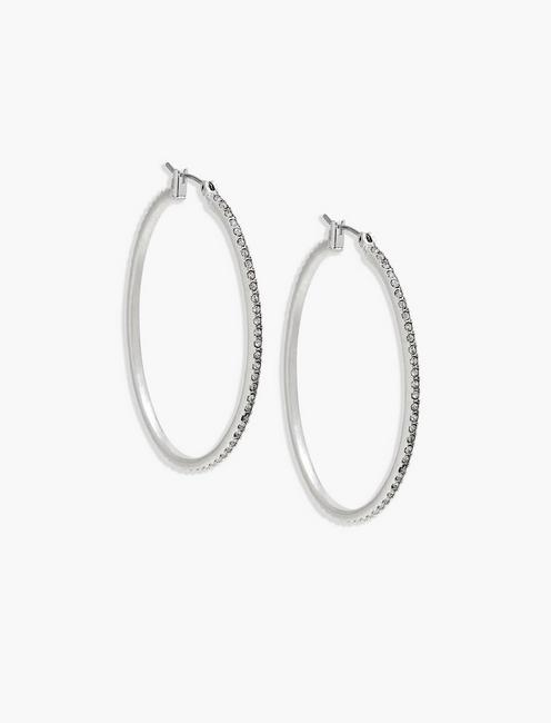 Lucky Silver Pave Hoop Earring