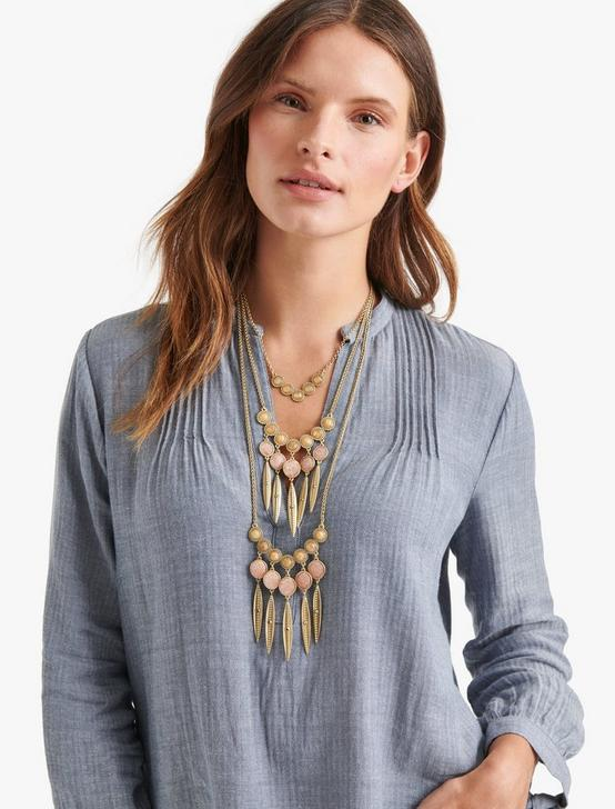 LAYER STATEMENT NECKLACE, GOLD, productTileDesktop