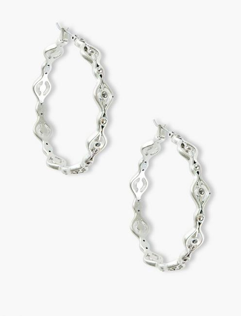 OPEN WORK PAVE HOOP, SILVER