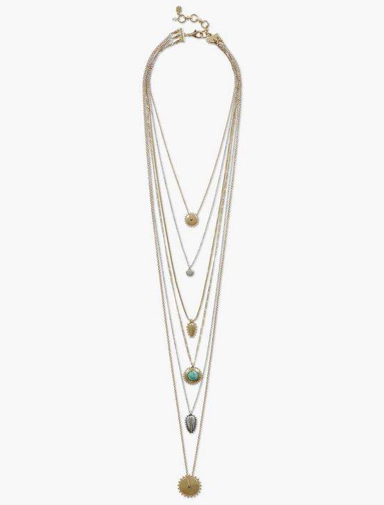 SET STONE LUCKY LAYER NECKLACE, TWO TONE, productTileDesktop