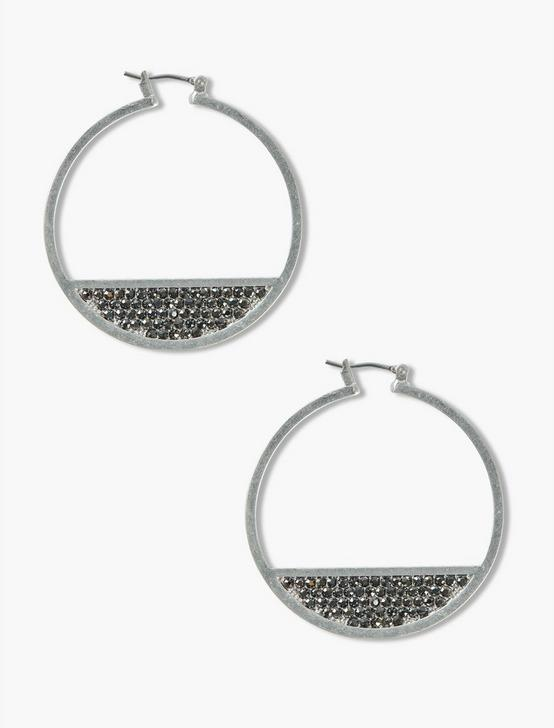 Silver PAVE HOOPS, SILVER, productTileDesktop