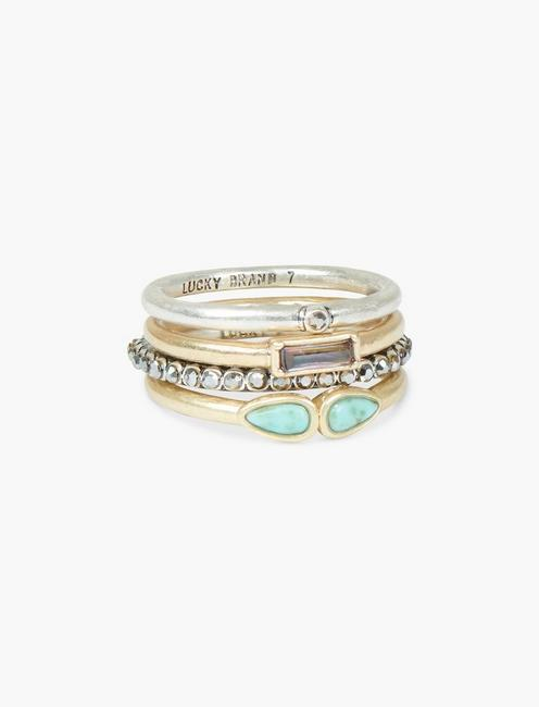 PAVE TURQOUISE RING STACK, TWO TONE