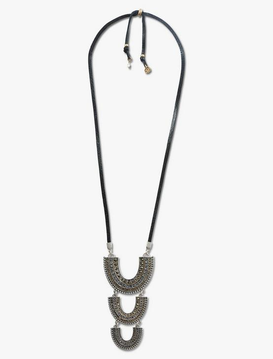 PAVE LEATHER ARCH PENDANT, TWO TONE, productTileDesktop