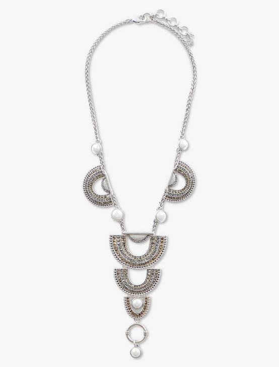 PAVE ARCH DRAMA NECKLACE, TWO TONE, productTileDesktop