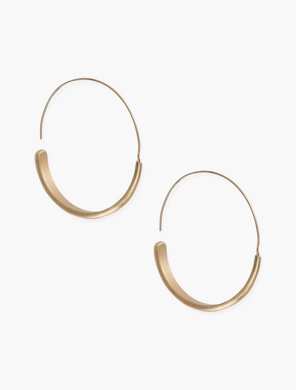 BRUSHED GOLD MODERN HOOP EARRINGS, image 1