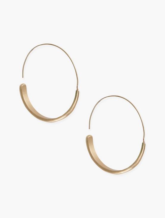 BRUSHED GOLD MODERN HOOP EARRINGS, GOLD, productTileDesktop