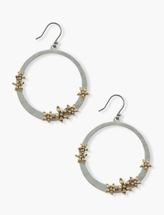 FLORAL FRONT FACING HOOPS, TWO TONE, productTileDesktop
