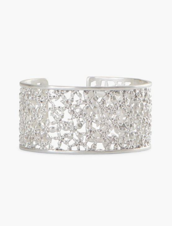 FLORAL OPENWORK CUFF, SILVER, productTileDesktop