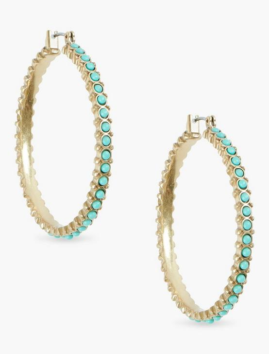 TURQUOISE BEADED HOOPS, GOLD, productTileDesktop