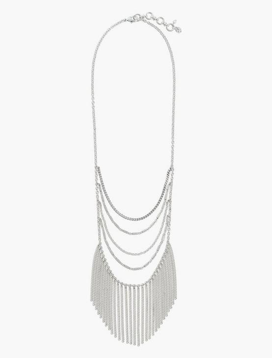 LAYERED CHAIN NECKLACE, SILVER, productTileDesktop